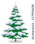 christmas fir tree with snow ... | Shutterstock .eps vector #117954658