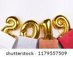 golden christmas 2019... | Shutterstock . vector #1179557509