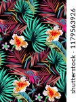 tropical pattern with neon palm ... | Shutterstock .eps vector #1179563926
