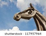 Face Of Wood Horse On Sky...