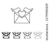 envelope with love letter icon...