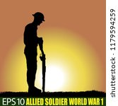 silhouette of allied soldier of ... | Shutterstock .eps vector #1179594259