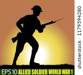 silhouette of allied soldier of ... | Shutterstock .eps vector #1179594280