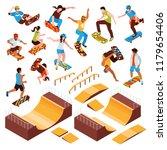 isometric skateboard platforms... | Shutterstock .eps vector #1179654406