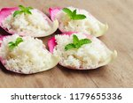 cooked rice on pink lotus petal ... | Shutterstock . vector #1179655336