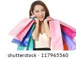 closeup happy shopping