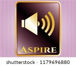 gold badge with sound icon and ... | Shutterstock .eps vector #1179696880