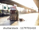map in backpack  mobile phone... | Shutterstock . vector #1179701410
