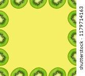 slice of green raw kiwi fruit... | Shutterstock . vector #1179714163