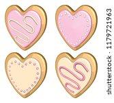 valentine day cookie set. heart ... | Shutterstock .eps vector #1179721963