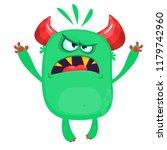 angry cartoon green monster... | Shutterstock .eps vector #1179742960