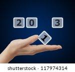 woman hand holding button 2013... | Shutterstock . vector #117974314