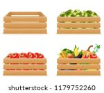 set wooden box with fresh and... | Shutterstock . vector #1179752260