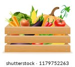 wooden box with fresh and...   Shutterstock . vector #1179752263