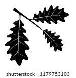 oak leaves black outline... | Shutterstock . vector #1179753103
