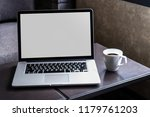 mock up using laptop with blank ... | Shutterstock . vector #1179761203
