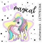 unicorn with a rainbow vector.... | Shutterstock .eps vector #1179781366