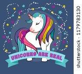unicorn with a rainbow vector.... | Shutterstock .eps vector #1179783130