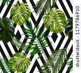 pattern leaves on black and... | Shutterstock . vector #1179786910