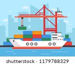 flat cargo ship in docks.... | Shutterstock .eps vector #1179788329