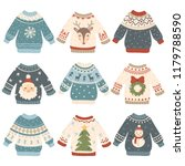ugly christmas sweaters.... | Shutterstock .eps vector #1179788590