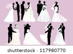 wedding silhouettes. vector... | Shutterstock .eps vector #117980770