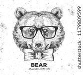 hipster animal bear. hand... | Shutterstock .eps vector #1179809599