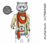 retro hipster animal bear with... | Shutterstock .eps vector #1179809680