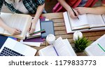 young couple with books and... | Shutterstock . vector #1179833773