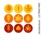 autumn leaves flat vector icons ... | Shutterstock .eps vector #1179847489