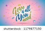 card with gold lettering love... | Shutterstock .eps vector #1179877150