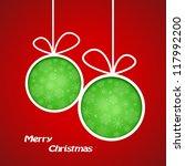 green paper balls on red... | Shutterstock .eps vector #117992200