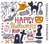 hand drawn halloween colorful...   Shutterstock .eps vector #1179940930