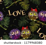 embroidery two funny owls on... | Shutterstock .eps vector #1179968380