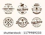 vector honey vintage logo and... | Shutterstock .eps vector #1179989233
