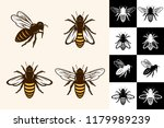 vector bee icons collection on... | Shutterstock .eps vector #1179989239