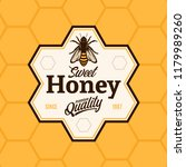 vector honey logo with bee on a ... | Shutterstock .eps vector #1179989260