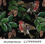 embroidery red bullfinches and... | Shutterstock .eps vector #1179999499