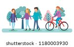 group of people on the park | Shutterstock .eps vector #1180003930