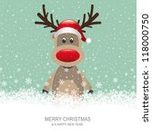 reindeer with red hat brown... | Shutterstock .eps vector #118000750