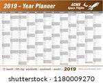 year planner calendar 2019  ... | Shutterstock .eps vector #1180009270