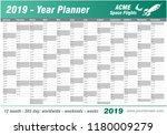 year planner calendar 2019  ... | Shutterstock .eps vector #1180009279