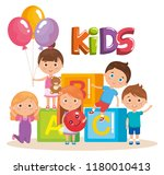 group of little kids playing... | Shutterstock .eps vector #1180010413