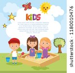 little kids group playing on... | Shutterstock .eps vector #1180010476