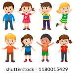 happy children in different... | Shutterstock .eps vector #1180015429