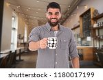 young man standing in the... | Shutterstock . vector #1180017199
