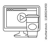 monitor computer with webpage... | Shutterstock .eps vector #1180024450