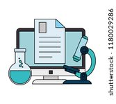 document with computer and tube ... | Shutterstock .eps vector #1180029286