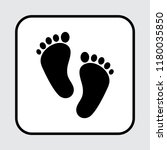 foot print. square icon. black... | Shutterstock .eps vector #1180035850