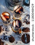 iced coffee with ice cubes... | Shutterstock . vector #1180048429
